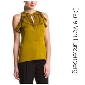 NWT Diane Von Furstenberg Silk Berit Curry Top 10